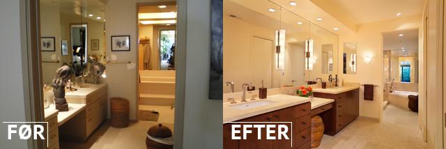 Før og efter billede af belysning på badeværelset